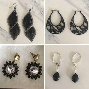 Four Pairs of Black Earrings